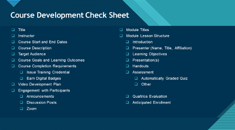Image of course development check sheet